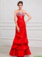 New Arrivals Column Strapless Appliques Prom Dresses in Red