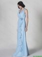 New Arrivals Hand Made Flower and Ruffles Light Blue Prom Dresses