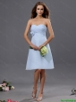 New Arrivals Ruching and Hand Made Flower Short Prom Dress in Light Blue
