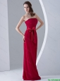 New Arrivals Sashes Red Long Prom Dresses with Sweep Train