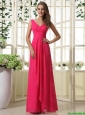 New Arrivals V Neck Empire Hot Pink Prom Dresses with Ruching