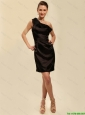 Pretty Short One Shoulder Black Prom Dresses with Ruching