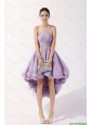 2016 New Arrivals Strapless High Low Lavender Prom Dresses with Beading