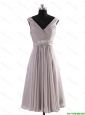 Cheap Most Popular V Neck Short Beading Grey Prom Dresses for Graduation