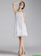 Cheap White One Shoulder Prom Dresses with Beading