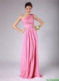 Classical Empire One Shoulder Rose Pink Prom Dresses with Ruching