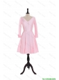 Pretty Custom Made A Line V Neck 3/4 Length Sleeve Prom Dresses in Baby Pink