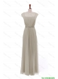 Pretty Simple Bateau Grey Long Prom Dresses with Beading and Sashes