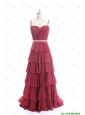 Beautiful Exclusive Brush Train Belt and Ruffled Layers Prom Dresses in Wine Red