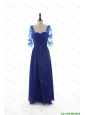 Cheap 2016 Fall Empire Sweetheart Ruching Prom Dresses with Half Sleeves in Blue