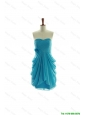 Cheap Exclusive Hand Made Flowers Short Prom Dresses in Aqua Blue