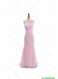 Cheap Simple Baby Pink Brush Train Prom Dresses with Hand Made Flowers