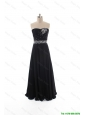 Cheap Simple Empire Strapless Beaded Prom Dresses in Black