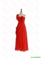 Pretty Beautiful One Shoulder Red Prom Dresses with Hand Made Flowers