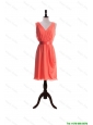Perfect Gorgeous Empire V Neck Prom Dresses with Sashes in Watermelon