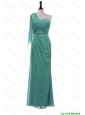 Pretty 2016 Exclusive Turquoise One Shoulder Long Prom Dresses with Beading