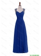 Pretty Custom Made Empire Straps Beaded Prom Dresses in Blue for 2016