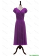 Pretty Most Popular V Neck Pleats Prom Dresses in Eggplant Purple