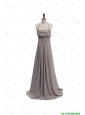 Beautiful 2016 Fall Empire Halter Top Ruching Prom Dresses with Brush Train
