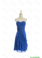 Beautiful Customize Hand Made Flowers and Ruching Short Prom Dresses in Royal Blue