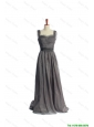 Cheap New Style Belt and Lace Grey Long Prom Dresses in Organza
