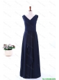 Cheap Simple Empire V Neck Prom Dresses in Navy Blue