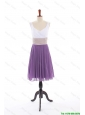 Popular Empire V Neck Prom Dresses with Ruching in Purple
