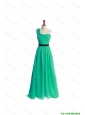 Pretty Discount Ruching and Belt One Shoulder Green Long Prom Dress