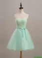 Beautiful Cheap Ruching and Belt Apple Green Short Prom Dresses for 2016