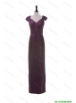 Beautiful Cheap V Neck Belt Burgundy Long Prom Dresses for Winter