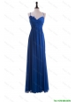 Cheap Custom Made Empire Spaghetti Straps Ruching Prom Dresses with Hand Made Flowers