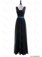 Beautiful Custom Made Empire Straps Prom Dresses with Ribbons in Navy Blue