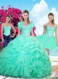 2016 Spring Perfect Summer Ruffles and Beaded Detachable Sweet 16 Dresses in Apple Green