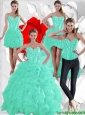 2016 Spring Winter Pretty Ruffles and Beaded Quinceanera Dresses in Apple Green