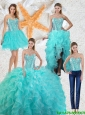Gorgeous Aqua Blue Detachable Quinceanera Gowns with Beading and Ruffles