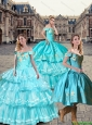 New Style Off the Shoulder Embroidery Quinceanera Dresses in Teal and Aqua Blue