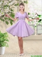 Simple A Line V Neck Beaded Bridesmaid Dresses in Lavender