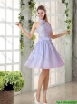 Beautiful A Line High Neck Lace Bridesmaid Dresses with Lavender