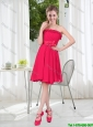 Coral Red Strapless Bowknot Bridesmaid Dresses for 2016 Summer
