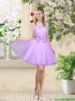 Decent Bateau A Line Bridesmaid Dresses with Lace and Bowknot