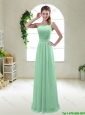 Classical Apple Green One Shoulder Bridesmaid Dresses with Zipper up