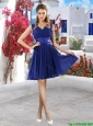 Discount V Neck Short Bridesmaid Dresses in Royal Blue
