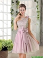 Discount A Line One Shoulder Pink Prom Dresses with Bowknot