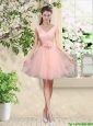 Decent V Neck Baby Pink Prom Dresses with Hand Made Flowers