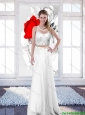2015 New Style Empire Scoop White Prom Dresses with Brush Train