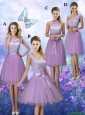 New Style Appliques Tulle Prom Dresses with Knee Length