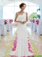 Designer Column One Shoulder Wedding Dresses for Beach