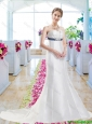 Discount Column Bridal Gowns with Belt and Appliques