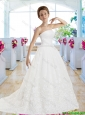 Elegant A Line Strapless Wedding Gowns with Appliques