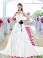 Fashionable Hand Made Flowers Wedding Gowns with A Line